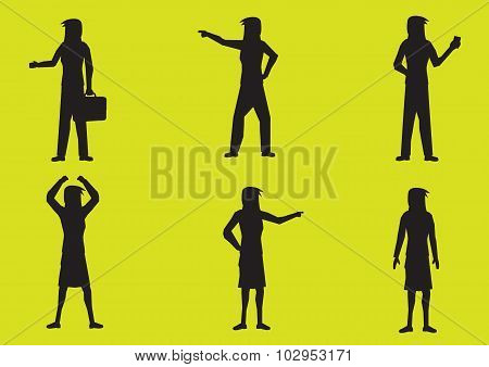 Cartoon Woman Silhouette Vector Illustration