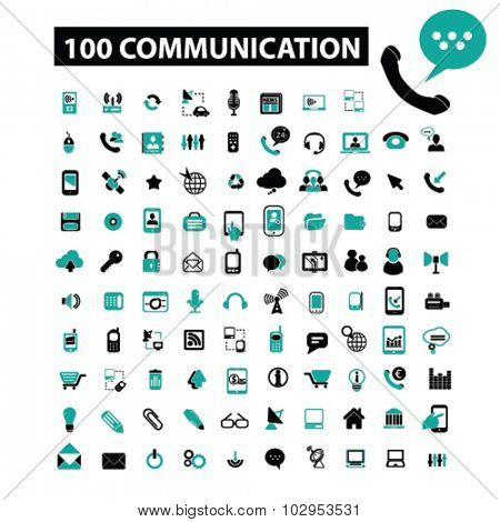 100 communication, connection, technology, mobile icons