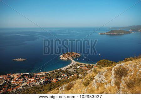 Sveti Stefan Island In Budva. Montenegro. Landscape.