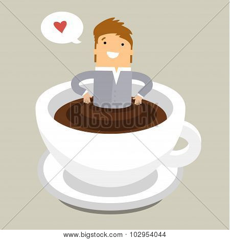 Coffee time, man relaxing in coffee cup