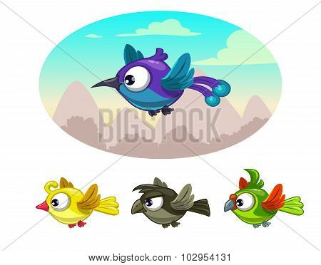 Funny cartoon flying different birds