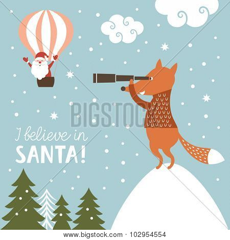 Christmas illustration, I Believe in Santa Clause