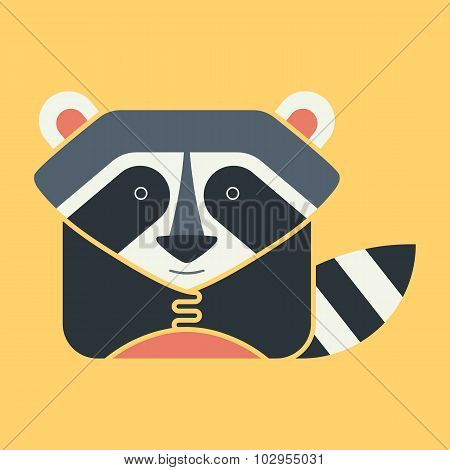 Flat square icon of a cute raccoon