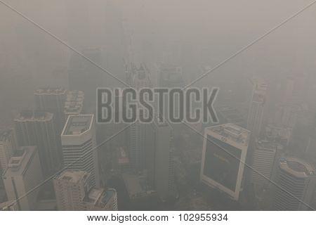 Air pollution (haze) in Kuala Lumur, Malaysia