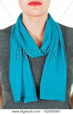 Silk Scarf. Blue Silk Scarf Around Her Neck Isolated On White Background.