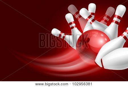 Red bowling ball crashing into the white glossy skittles. Illustration on sport bowling theme.