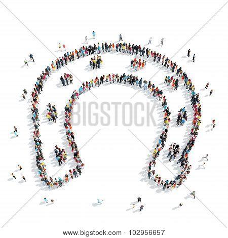 people  shape  horseshoe crowd