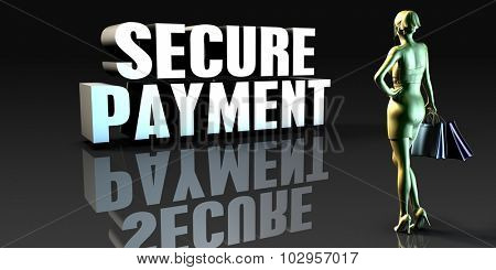 Secure Payment as a Concept with Lady Holding Shopping Bags