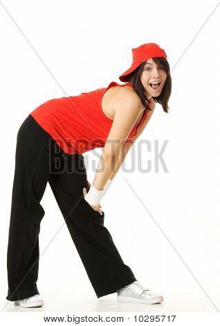 Happy Hip-Hop Dancer Girl  Looking at Camera.