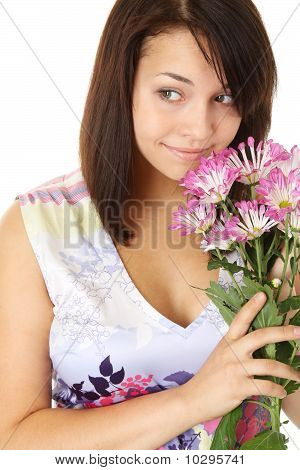 A Pretty Girl Portrait With Flowers.