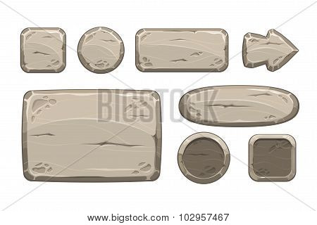 Cartoon stone game assets set