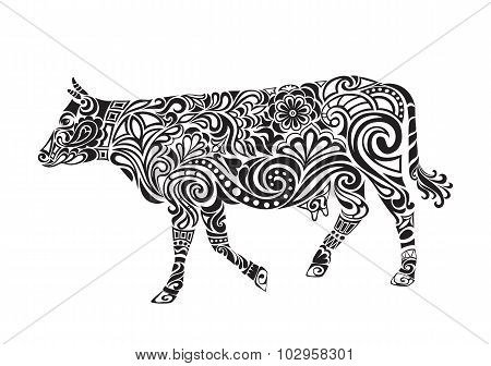 Cow drawing with floral ornament decoration