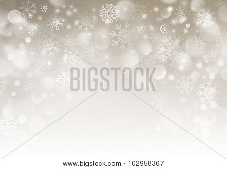 Christmas beige horizontal background with snowflakes. vector illustration