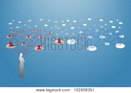 Silhouette Of A Woman With Symbol Of Social Network