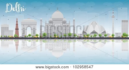 Delhi skyline with gray landmarks, blue sky and reflections. Vector illustration