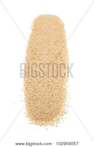 Row of Organic White Poppy seed.