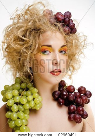 beautiful young woman portrait excited smile with fantasy art hair makeup style, fashion girl with c