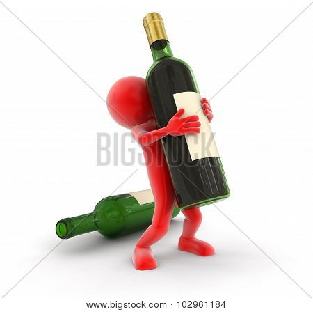 Man and bottle (clipping path included)