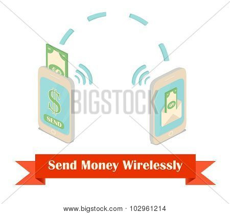 Send money wireless isometric illustration.