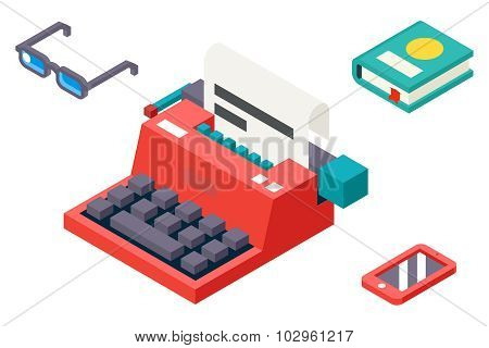 Isometric 3d Retro Vintage Creativity Symbol Typewriter Paper Sheet Icon Flat Design Template Vector
