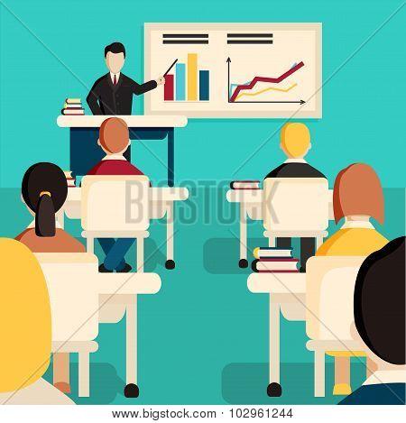 Education classroom vector illustration.