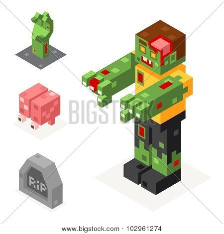 Halloween Zombie Icons Set Grave Hand Brain Trick or Treat Flat Design Isometric 3d Vector Illustrat