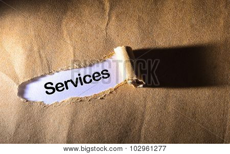 Torn Paper With Word  Services