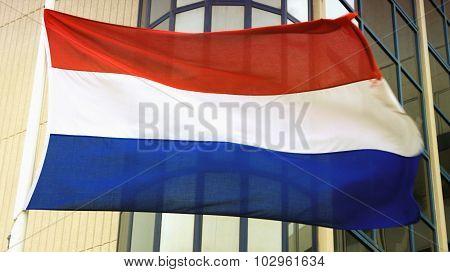 Holland's Flag On Wind