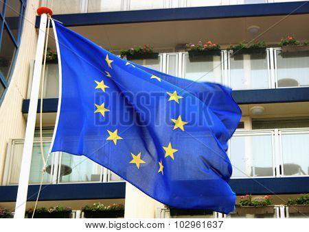 Waving Eu Flag On Wind