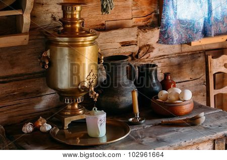 Interior of kitchen room in russian traditional wooden house