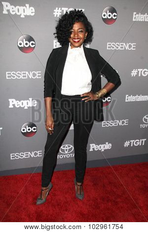 LOS ANGELES - SEP 26:  Jerrika Hinton at the TGIT 2015 Premiere Event Red Carpet at the Gracias Madre on September 26, 2015 in Los Angeles, CA
