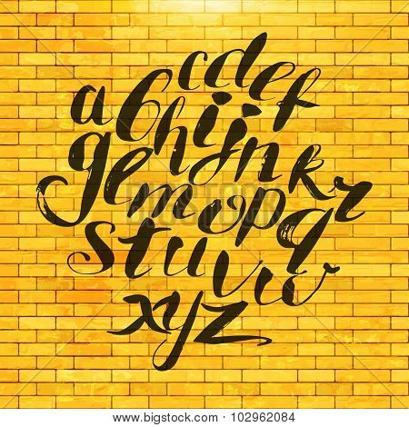 Hand Painted Alphabet At Brick Wall