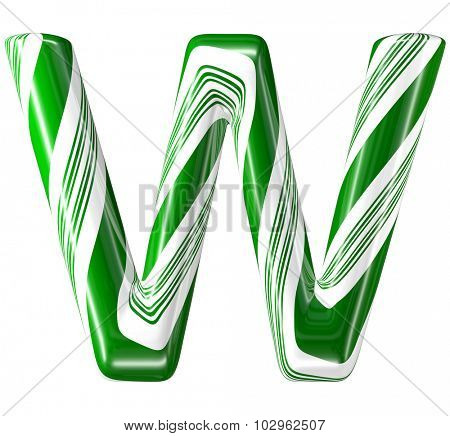 Mint hard candy cane 3d alphabet collection striped in Christmas colours. Letter W.