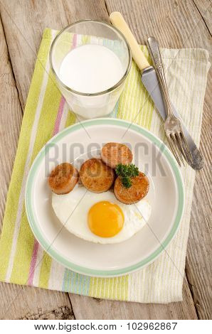 Irish Breakfast With White Pudding And Fried Egg