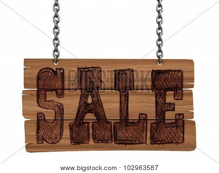Wooden Blackboard with sale (clipping path included)