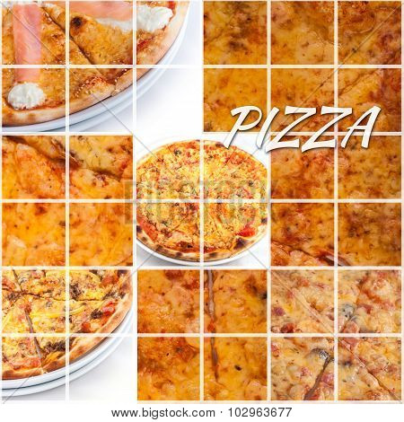 Various Pizza Foods Together In A Collage. Pizza Photo
