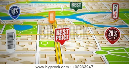 GPS city map with price labels. Concept of sale and shopping. 3d