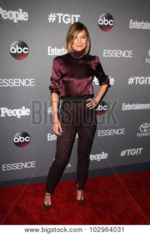 LOS ANGELES - SEP 26:  Ellen Pompeo at the TGIT 2015 Premiere Event Red Carpet at the Gracias Madre on September 26, 2015 in Los Angeles, CA