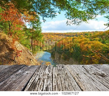 Autumn scene landscape of river and forest at Letchworth State Park