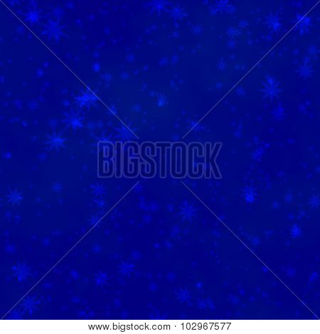 Blue Stars Irregularly Placed  On Dark Night Backgroud - Seamless Pattern