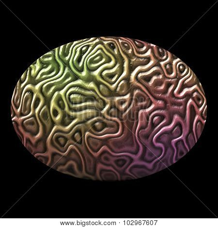 Oval Pattern Of Brain Tissue Isolated On Black Background