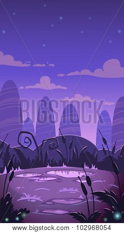 Cartoon vertical night landscape illustration