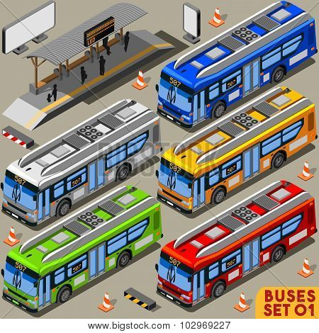Bus Set 01 Vehicle Isometric