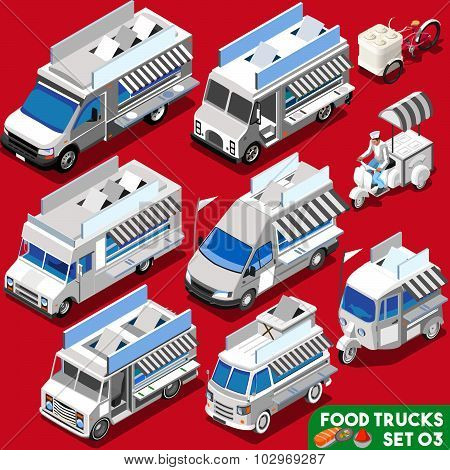 Food Truck Set04 Vehicle Isometric