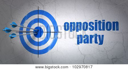 Political concept: target and Opposition Party on wall background