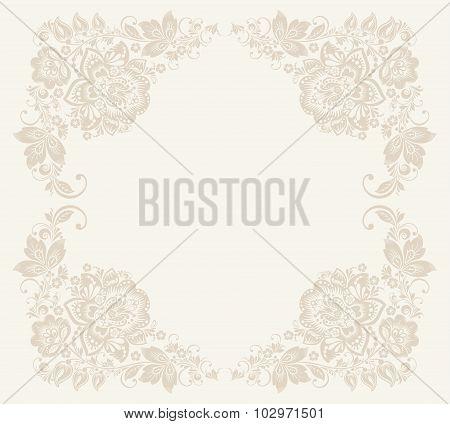 Vector Elegant decorative khokhloma postcard frame