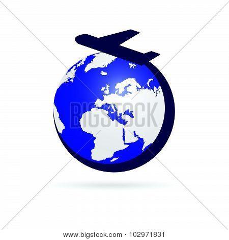 Airplane With Blue Globe Symbol Vector Illustration