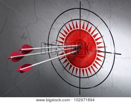 Tourism concept: arrows in Sun target on wall background