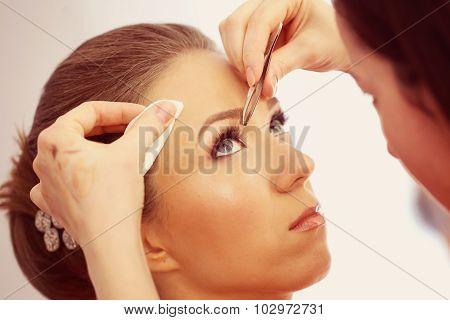 Beautiful Bride Getting Professional Make-up