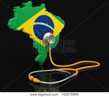 Map of Brazil with Stethoscope (clipping path included)